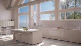 Modern kitchen in classic villa, loft, big panoramic windows on. Summer spring meadow, white minimalist interior design Royalty Free Stock Photo
