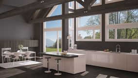 Modern kitchen in classic villa, loft, big panoramic windows on. Summer spring meadow, white and gray minimalist interior design Stock Images