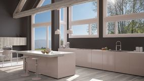 Modern kitchen in classic villa, loft, big panoramic windows on. Summer spring meadow, white and gray minimalist interior design Royalty Free Stock Images