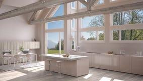 Modern kitchen in classic villa, loft, big panoramic windows on. Summer spring meadow, white minimalist interior design Stock Image
