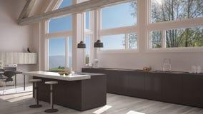 Modern kitchen in classic villa, loft, big panoramic windows on. Summer spring meadow, white and gray minimalist interior design Royalty Free Stock Photo