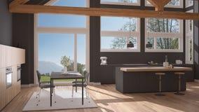 Modern kitchen in classic villa, loft, big panoramic windows on. Summer spring meadow, white and gray minimalist interior design Stock Photo