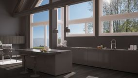 Modern kitchen in classic villa, loft, big panoramic windows on. Summer spring meadow, white and gray minimalist interior design Stock Photography