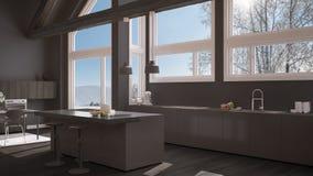 Modern kitchen in classic villa, loft, big panoramic windows on. Winter meadow, white and gray minimalist interior design Royalty Free Stock Photo