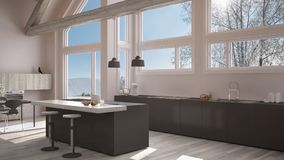 Modern kitchen in classic villa, loft, big panoramic windows on. Winter meadow, white and gray minimalist interior design Stock Photos
