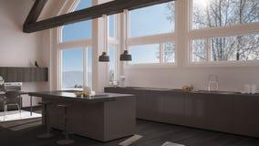 Modern kitchen in classic villa, loft, big panoramic windows on. Winter meadow, white and gray minimalist interior design Stock Photo