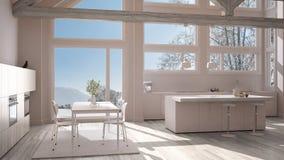 Modern kitchen in classic villa, loft, big panoramic windows on. Winter meadow, white minimalist interior design Royalty Free Stock Images