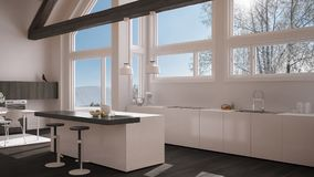 Modern kitchen in classic villa, loft, big panoramic windows on. Winter meadow, white and gray minimalist interior design Royalty Free Stock Photos