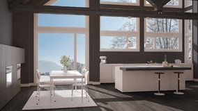 Modern kitchen in classic villa, loft, big panoramic windows on. Winter meadow, white and gray minimalist interior design Royalty Free Stock Images