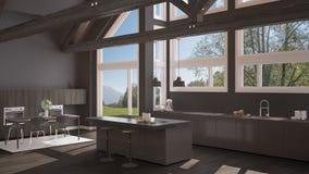 Modern kitchen in classic villa, loft, big panoramic windows on. Summer spring meadow, gray minimalist interior design Royalty Free Stock Images