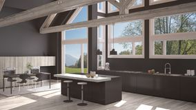 Modern kitchen in classic villa, loft, big panoramic windows on. Summer spring meadow, white and gray minimalist interior design Stock Photos