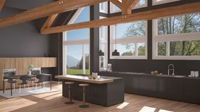 Modern kitchen in classic villa, loft, big panoramic windows on. Summer spring meadow, white and gray minimalist interior design Royalty Free Stock Photos