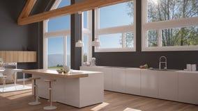Modern kitchen in classic villa, loft, big panoramic windows on. Summer spring meadow, white and gray minimalist interior design Stock Image