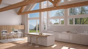 Modern kitchen in classic villa, loft, big panoramic windows on. Summer spring meadow, white minimalist interior design Stock Photo