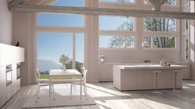 Modern kitchen in classic villa, loft, big panoramic windows on. Summer spring meadow, white minimalist interior design Royalty Free Stock Image