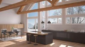 Modern kitchen in classic villa, loft, big panoramic windows on. Winter meadow, white and gray minimalist interior design Stock Image