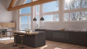 Modern kitchen in classic villa, loft, big panoramic windows on. Winter meadow, white and gray minimalist interior design Royalty Free Stock Image