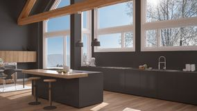Modern kitchen in classic villa, loft, big panoramic windows on. Winter meadow, white and gray minimalist interior design Royalty Free Stock Photography
