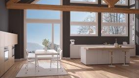 Modern kitchen in classic villa, loft, big panoramic windows on. Winter meadow, white and gray minimalist interior design Stock Photography