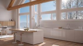 Modern kitchen in classic villa, loft, big panoramic windows on. Winter meadow, white minimalist interior design Royalty Free Stock Photography