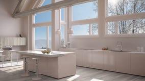 Modern kitchen in classic villa, loft, big panoramic windows on. Winter meadow, white minimalist interior design Stock Images
