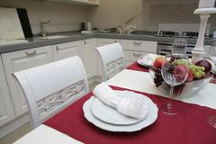 Modern kitchen in classical style Royalty Free Stock Photos