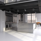 Modern kitchen in converted loft Royalty Free Stock Image