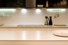 Modern Kitchen Counter. Contemporary Kitchen Work Surface with Utensils Stock Images