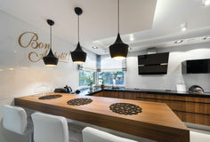 Modern kitchen counter interior design Royalty Free Stock Images