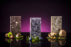 Modern kitchen counters made from granite, marble and quartz stone. Kitchen countertop concept. Royalty Free Stock Image