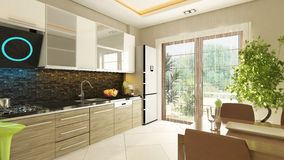 Modern kitchen design. With flush cabinet Royalty Free Stock Photography