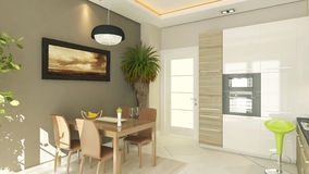 Modern kitchen design. With render Stock Photography