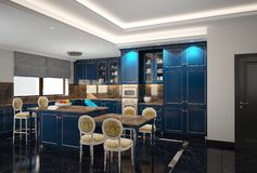 Modern kitchen diner. Modern spacious kitchen dining room with central food preparation area , cupboards and microwave cooker. A small table and four chairs stock image