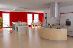 Modern kitchen and dinin room Royalty Free Stock Photo