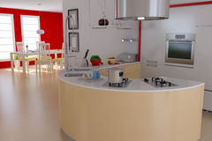 Modern kitchen and dining room Stock Image