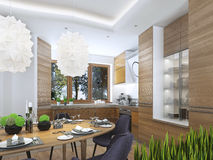 Modern kitchen in the dining room Contemporary style. Royalty Free Stock Image