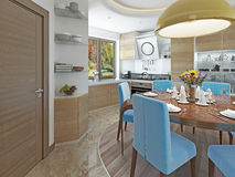 Modern kitchen dining room in the style of kitsch. Stock Photos