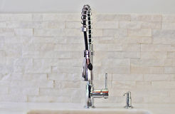 Modern kitchen faucet Royalty Free Stock Images