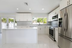 Modern Kitchen In A Vacant Home. A modern kitchen featuring new stainless steel appliances in a vacant home royalty free stock photography