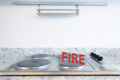 Modern kitchen with fire sign Royalty Free Stock Images