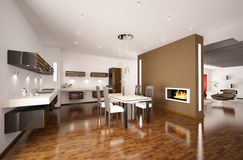 Modern kitchen with fireplace 3d render. Interior of modern brown kitchen with fireplace 3d render Royalty Free Stock Images
