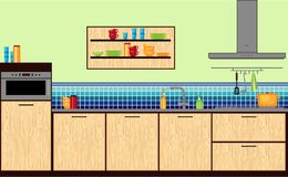 Modern kitchen in flat style. Royalty Free Stock Images