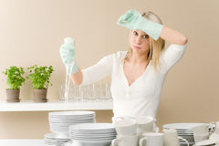 Modern kitchen - frustrated woman in kitchen Stock Photo