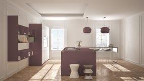 Modern kitchen furniture in classic room, old parquet, minimalis. T architecture, white and purple interior design Stock Photo