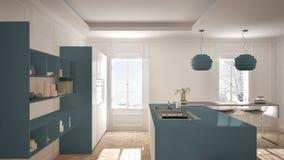 Modern Kitchen Furniture In Classic Room, Old Parquet, Minimalis ...