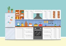 Modern kitchen with furniture. Cozy kitchen interior with stove, cupboard, dishes and fridge vector illustration