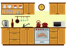 Modern kitchen with furniture. Eps10  illustration.  on white background Royalty Free Stock Image