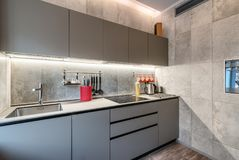Modern kitchen furniture. And utensil Stock Images