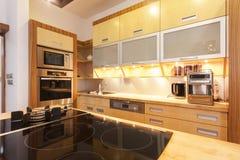 Modern kitchen. Glass stove top in modern kitchen Stock Photo
