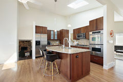Modern kitchen with granite island Royalty Free Stock Image